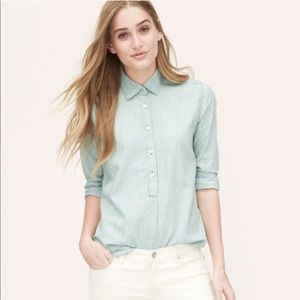 LOFT Torched Printed Chambray popover top